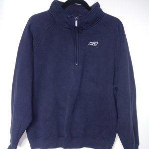 Vintage Reebok Quarter Zip Sweatshirt Navy blue